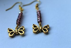Butterfly Dangle Earrings with Pink Crystals by Clerdy