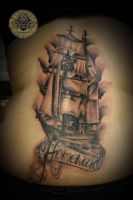 ship greif lettering tat by 2Face-Tattoo