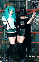 Hatsune Miku and Female Vader. by TineMarieRiis