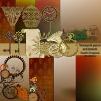 Preview steampunk papers and elements by Creativescrapmom