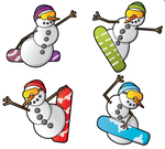 Snowboarding Snowman Gift Tags by moopf