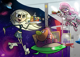 Galaxy Girls Working at Sonic by WillDrawForFood1
