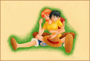 OP: 'Fixed' Luffy Nami by justira