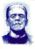 The Monster of Frankenstein Ballpoint by FaceItDrawing