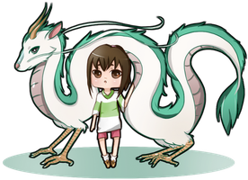 Spirited Away: Dragon Haku and Chihiro by NoizRnel