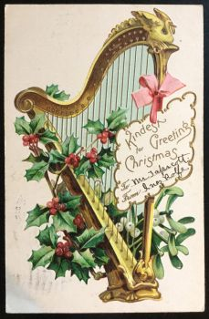 The Holly and the Harp - 1905 Postcard by KarRedRoses