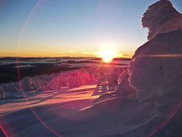 Big White Sunset with flares by punkaddic