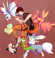 Trainer and his Team by Wabatte-Meru