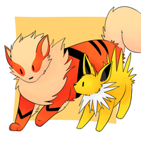 Arcanine and Jolteon by LexisSketches