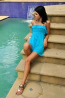 Tara - blue dress at pool 2 by wildplaces