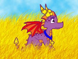 Spyro in a field by thesorcerousisfat