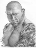 WWE Batista Pencil Drawing by Chirantha