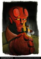 Comic Hellboy - Watercolor by patricktoifl