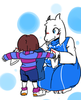 Toriel and Frisk by kioon321