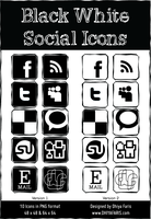 Black White Social Icons by dhiyafaris