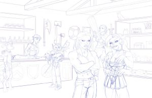 Fantasy sojourn pencils by DaveBarrack