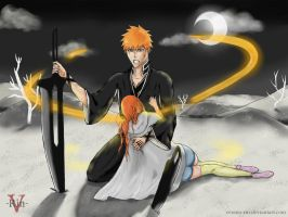 IchiHime Week_Day 6_Fighter and Healer by Verano-Rin