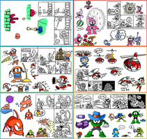 Mega Man Enemies by kenshinmeowth