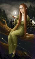 Sarah-Moth and the Moon by meluseena
