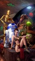 Slave Leia And Jabba The Hutt by vest