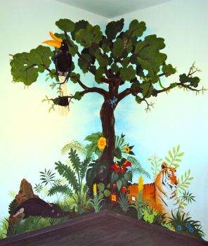 Fresque - Wall painting Thai Jungle by EliseRoullet