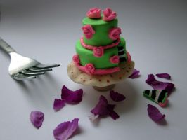 Polymer Clay Rose Cake by JewelleryByABC
