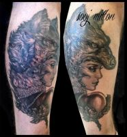 Wolf lady tattoo by sooj