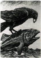 Raven And Fish by thecorvidking