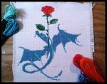 Blu Dragon And Red Rose by BrainLessGirl