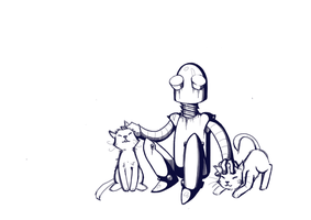 Robot and kittens by Sashur