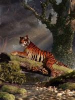 Tiger on a Log by deskridge
