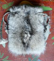 Large Wolf Fur Drawstring Bag by lupagreenwolf