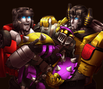 Commission - LD76 - Bob, Sunstreaker and Sidwswipe by shibara-draws-mecha