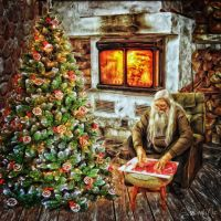Santa In Front of His Fireplace by ShawnaMac