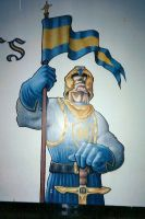 Crusader mascot in gym by MuralsbyLeBold