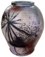 Fire Palm raku-fired jar by anubistj