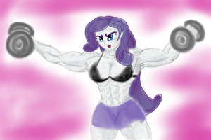 Rarity Getting Ripped 2 by fleurishot
