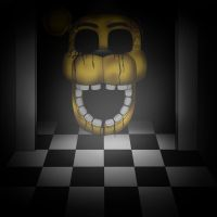 Golden Freddy - Flying head by Stygie