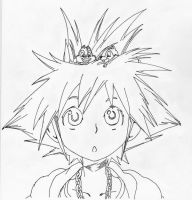 Sora BW pigment liner lineart by Andrex91