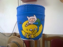 Finn and Jake on a flower pot by ivansasu87