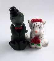 T Rex and Snow Leopard Wedding Cake Topper by HeartshapedCreations