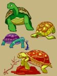 Colored Turtles by fishy-kun