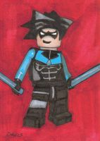 Nightwing Lego Sketch Card by Dangerousdonny