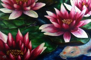 Water Lilies and Koi by ChristineC