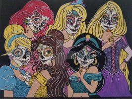 Disney Princess Sugar Skulls by KITTYOG
