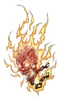 Flaming skull by TheDjib