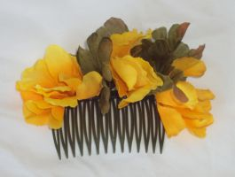 floral comb - gold with leaves by ACrowsCollection