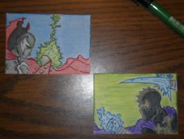 Spawn and Redeemer sketch cards by kylemulsow