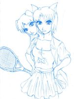 Emiko and Amiko playing tennis by ZephX