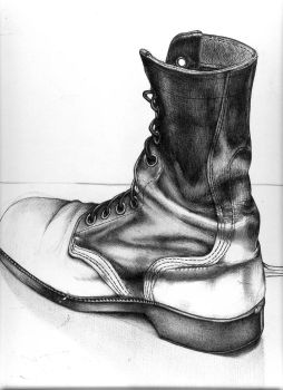 Combat Boot Drawing by 5bodyblade